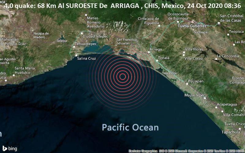 4.0 quake: 68 Km Al SUROESTE De  ARRIAGA , CHIS, Mexico, 24 Oct 2020 08:36