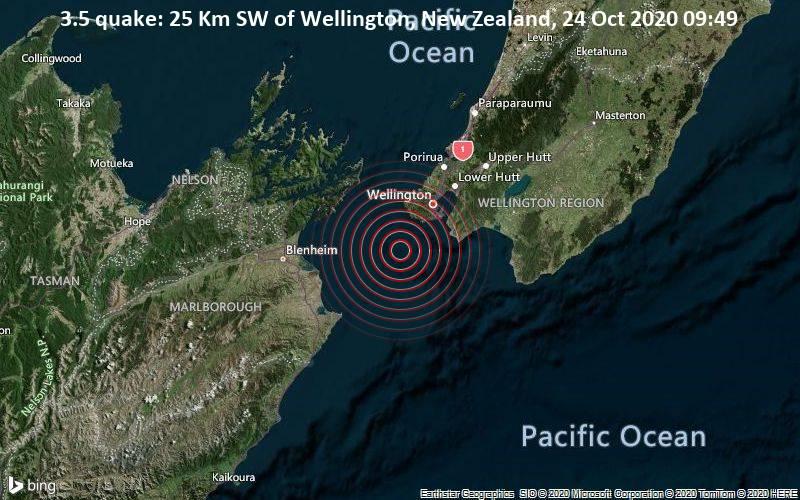 3.5 quake: 25 Km SW of Wellington, New Zealand, 24 Oct 2020 09:49