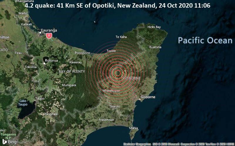 4.2 quake: 41 Km SE of Opotiki, New Zealand, 24 Oct 2020 11:06