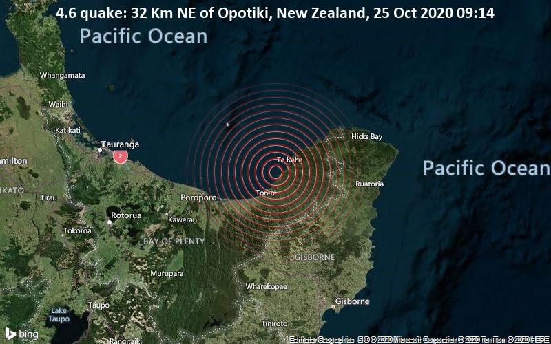 4.6 quake: 32 Km NE of Opotiki, New Zealand, 25 Oct 2020 09:14