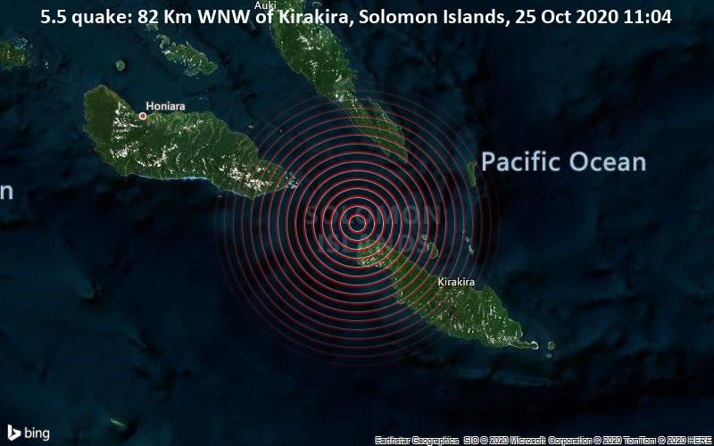 5.5 quake: 82 Km WNW of Kirakira, Solomon Islands, 25 Oct 2020 11:04