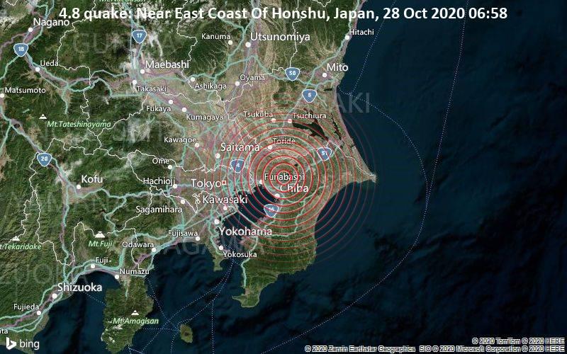 4.8 quake: Near East Coast Of Honshu, Japan, 28 Oct 2020 06:58