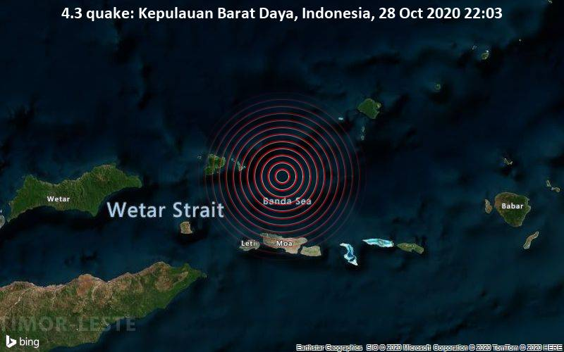 4.3 quake: Kepulauan Barat Daya, Indonesia, 28 Oct 2020 22:03