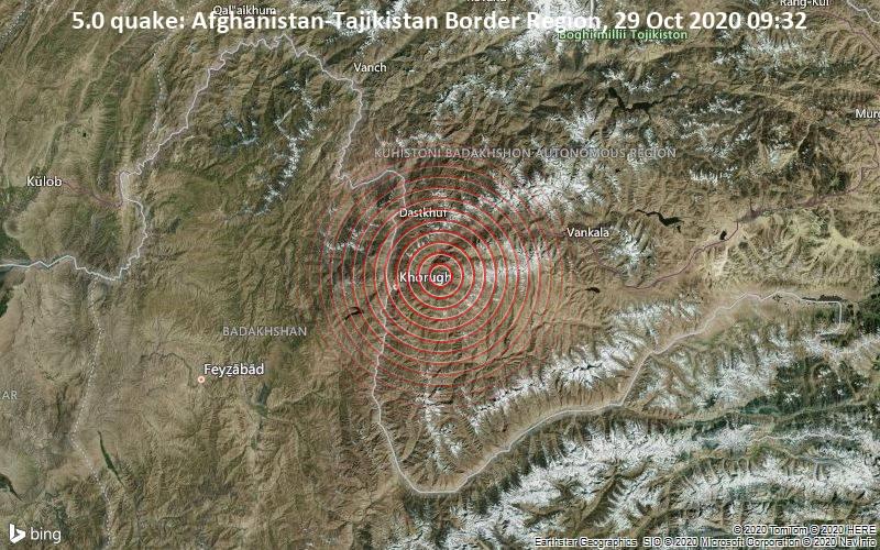 5.0 quake: Afghanistan-Tajikistan Border Region, 29 Oct 2020 09:32
