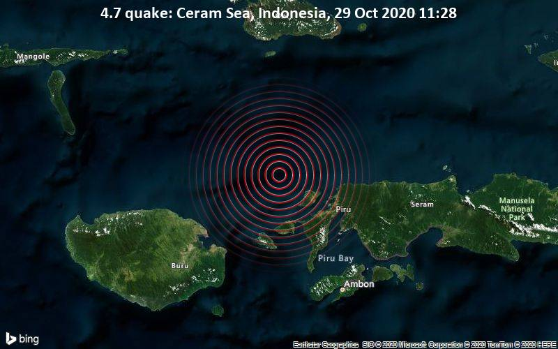 4.7 quake: Ceram Sea, Indonesia, 29 Oct 2020 11:28