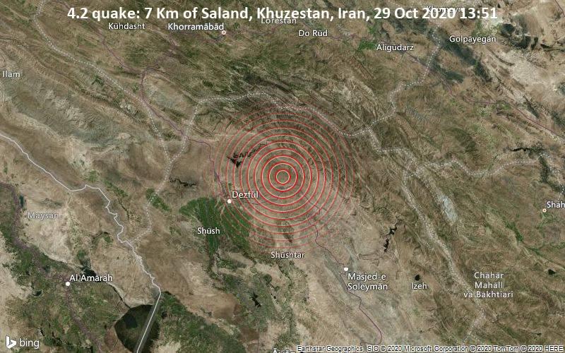 4.2 quake: 7 Km of Saland, Khuzestan, Iran, 29 Oct 2020 13:51