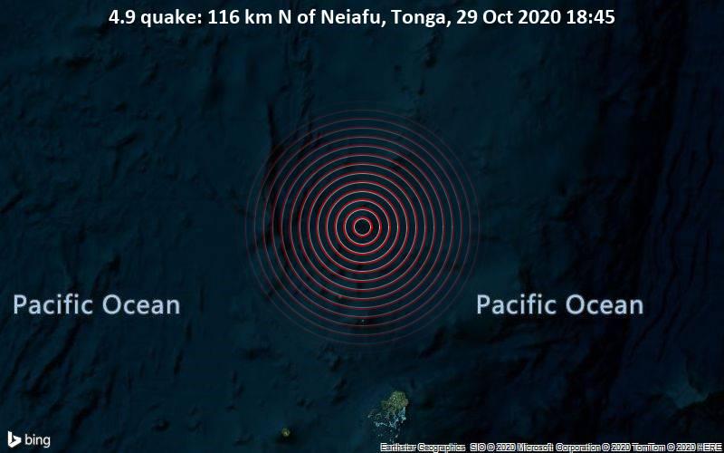 4.9 quake: 116 km N of Neiafu, Tonga, 29 Oct 2020 18:45