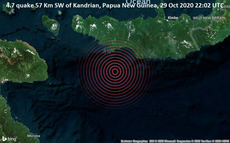 4.7 quake 57 Km SW of Kandrian, Papua New Guinea, 29 Oct 2020 22:02 UTC