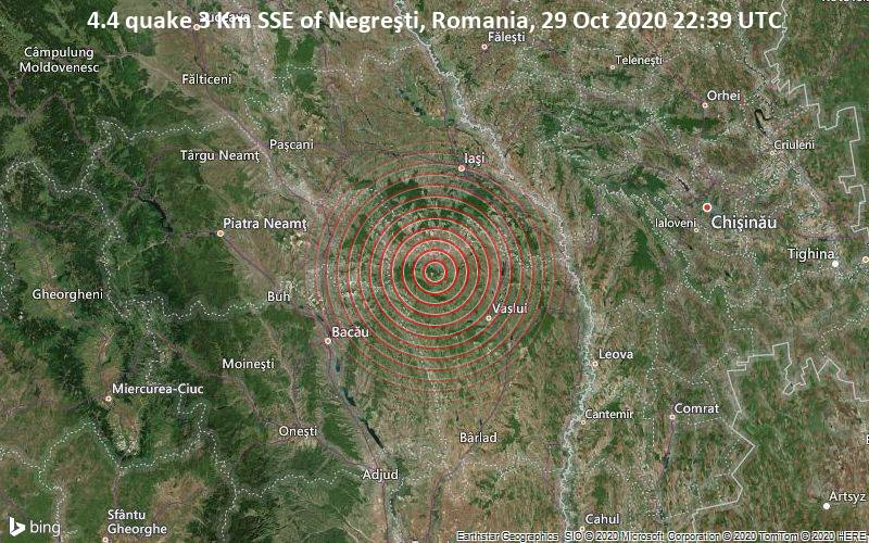 4.4 quake 3 Km SSE of Negreşti, Romania, 29 Oct 2020 22:39 UTC
