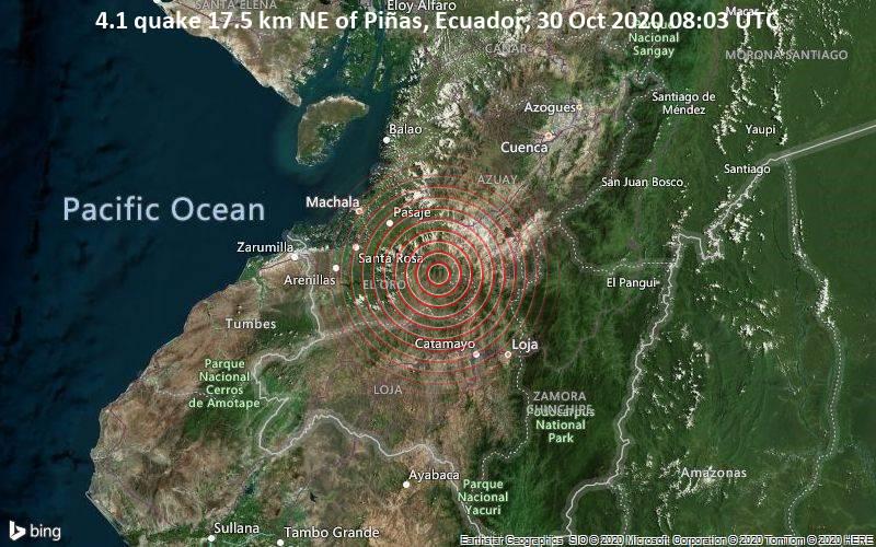 4.1 quake 17.5 km NE of Piñas, Ecuador, 30 Oct 2020 08:03 UTC