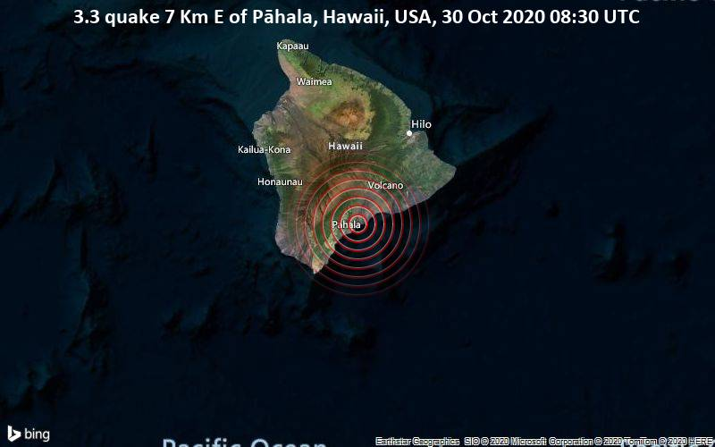 3.3 quake 7 Km E of Pāhala, Hawaii, USA, 30 Oct 2020 08:30 UTC