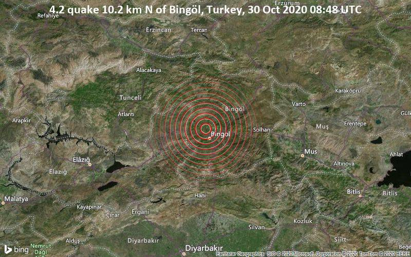 4.2 quake 10.2 km N of Bingöl, Turkey, 30 Oct 2020 08:48 UTC