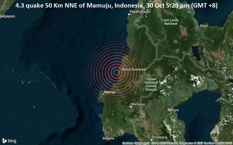 4.3 quake 50 Km NNE of Mamuju, Indonesia, 30 Oct 5:29 pm (GMT +8)
