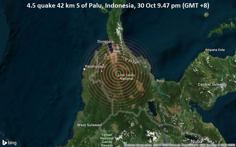 4.5 quake 42 km S of Palu, Indonesia, 30 Oct 9.47 pm (GMT +8)