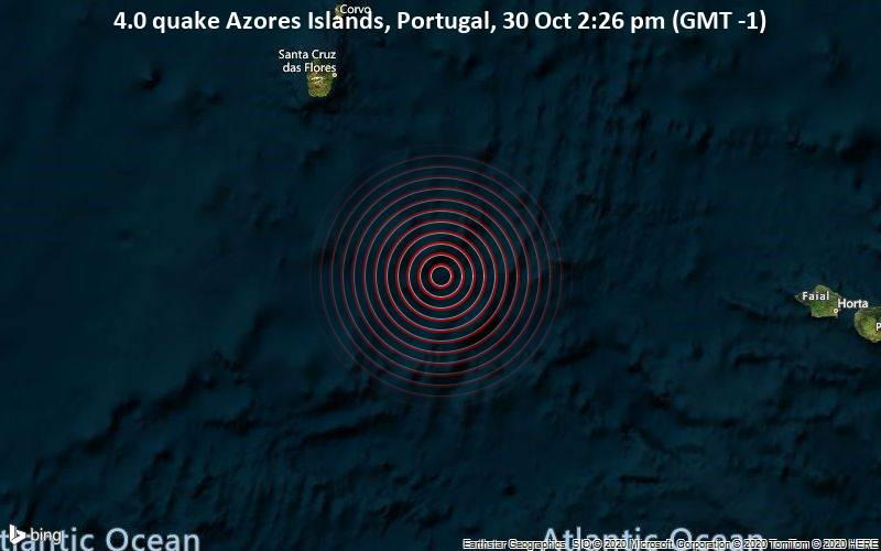 4.0 quake Azores Islands, Portugal, 30 Oct 2:26 pm (GMT -1)