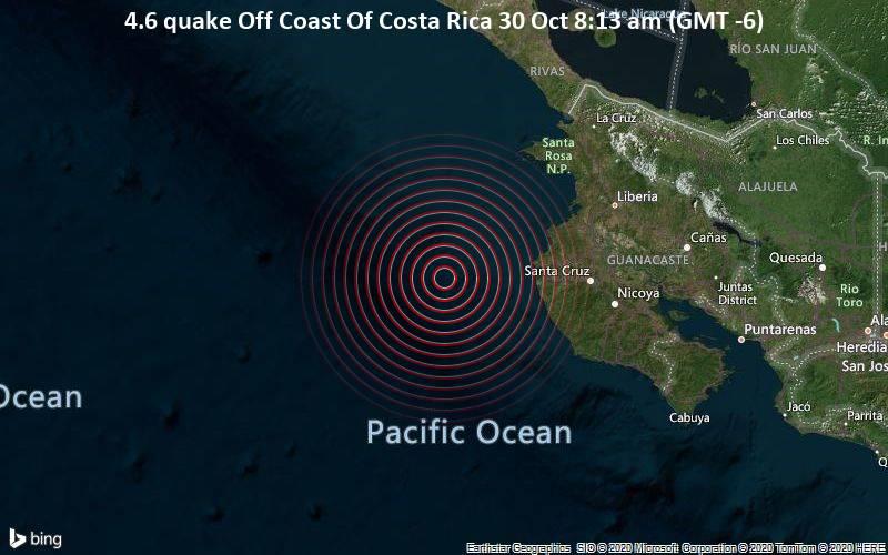 4.6 quake Off Coast Of Costa Rica 30 Oct 8:13 am (GMT -6)