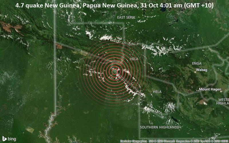 4.7 quake New Guinea, Papua New Guinea, 31 Oct 4:01 am (GMT +10)