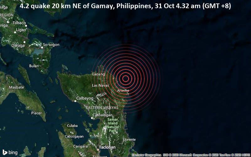 4.2 quake 20 km NE of Gamay, Philippines, 31 Oct 4.32 am (GMT +8)