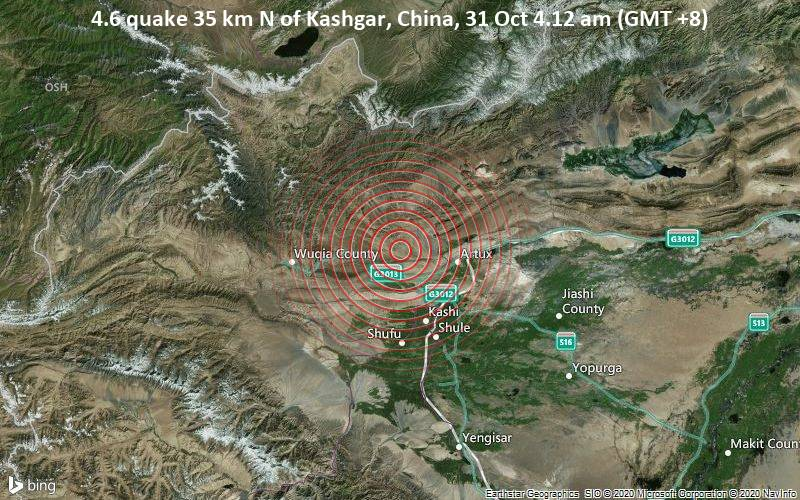 4.6 quake 35 km N of Kashgar, China, 31 Oct 4.12 am (GMT +8)