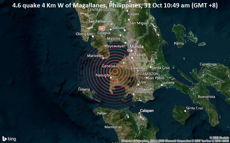 4.6 quake 4 Km W of Magallanes, Philippines, 31 Oct 10:49 am (GMT +8)