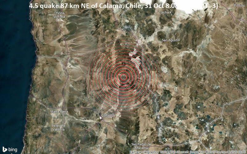 4.5 quake 87 km NE of Calama, Chile, 31 Oct 8.08 am (GMT -3)