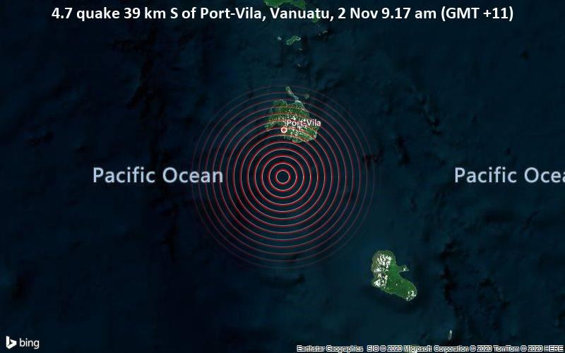 4.7 quake 39 km S of Port-Vila, Vanuatu, 2 Nov 9.17 am (GMT +11)