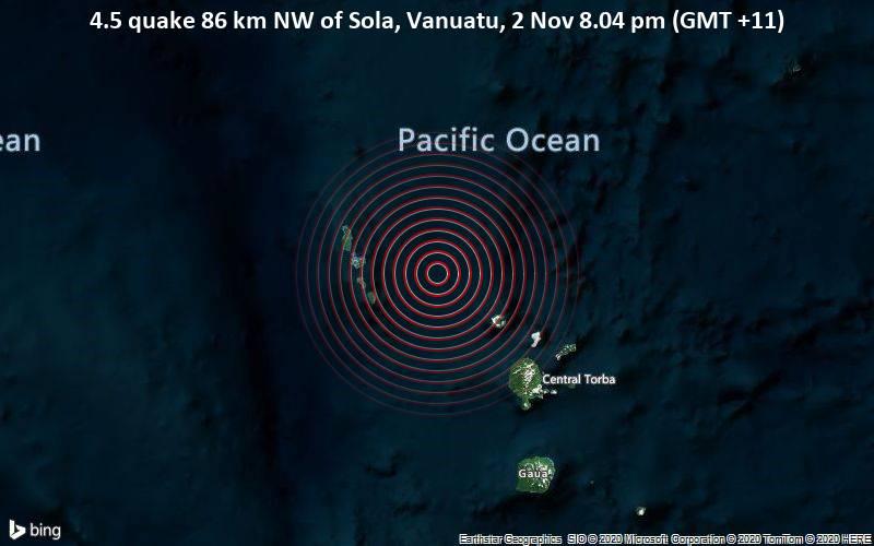 4.5 quake 86 km NW of Sola, Vanuatu, 2 Nov 8.04 pm (GMT +11)