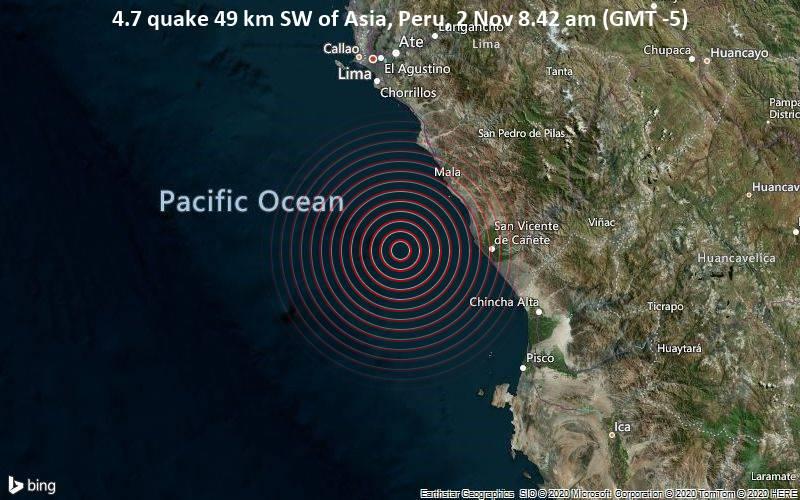 4.7 quake 49 km SW of Asia, Peru, 2 Nov 8.42 am (GMT -5)