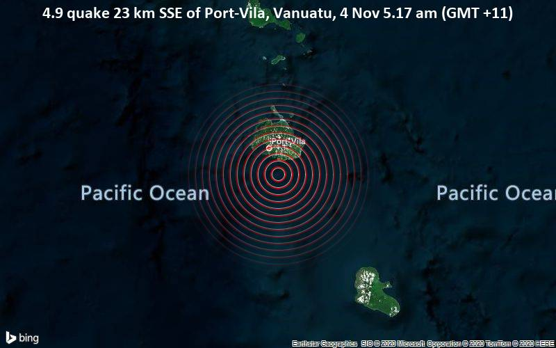 4.9 quake 23 km SSE of Port-Vila, Vanuatu, 4 Nov 5.17 am (GMT +11)