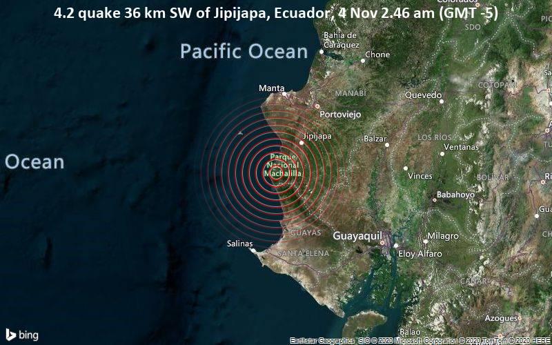 4.2 quake 36 km SW of Jipijapa, Ecuador, 4 Nov 2.46 am (GMT -5)