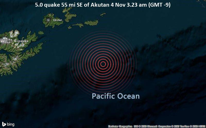 5.0 quake 55 mi SE of Akutan 4 Nov 3.23 am (GMT -9)