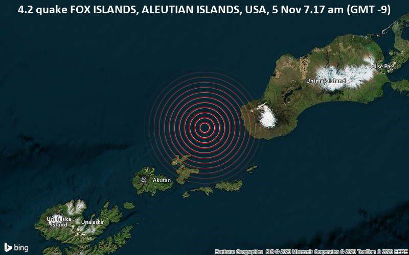 4.2 quake FOX ISLANDS, ALEUTIAN ISLANDS, USA, 5 Nov 7.17 am (GMT -9)
