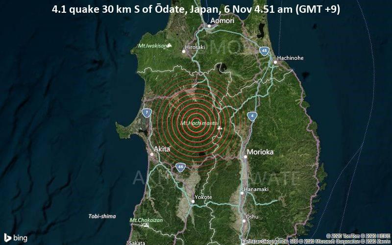 4.1 quake 30 km S of Ōdate, Japan, 6 Nov 4.51 am (GMT +9)