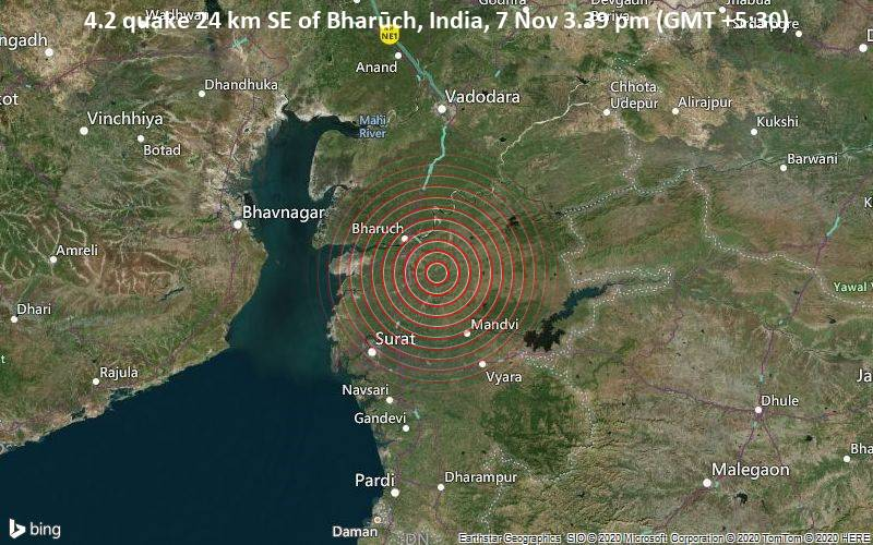 4.2 quake 24 km SE of Bharūch, India, 7 Nov 3.39 pm (GMT +5:30)