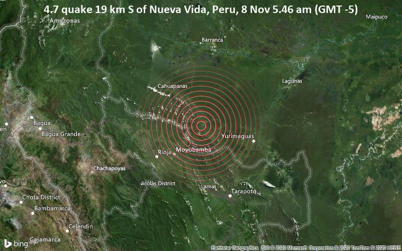 4.7 quake 19 km S of Nueva Vida, Peru, 8 Nov 5.46 am (GMT -5)