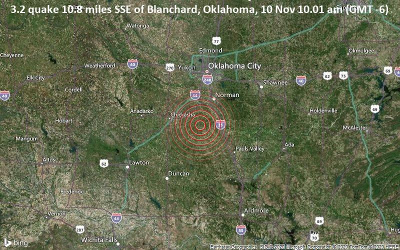 3.2 quake 10.8 miles SSE of Blanchard, Oklahoma, 10 Nov 10.01 am (GMT -6)