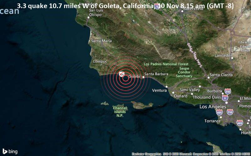 3.3 quake 10.7 miles W of Goleta, California, 10 Nov 8.15 am (GMT -8)