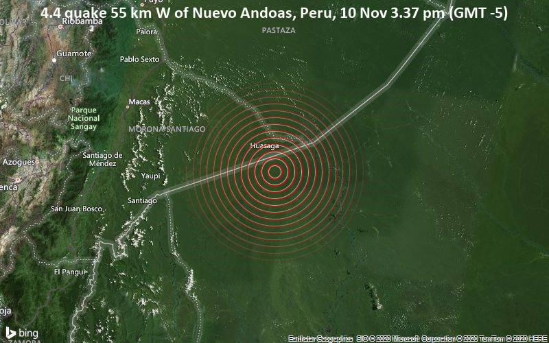 4.4 quake 55 km W of Nuevo Andoas, Peru, 10 Nov 3.37 pm (GMT -5)
