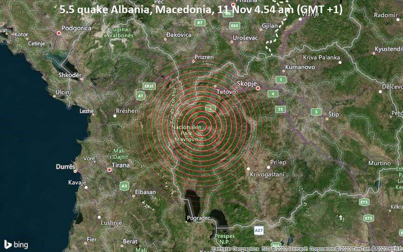 5.5 quake Albania, Macedonia, 11 Nov 4.54 am (GMT +1)
