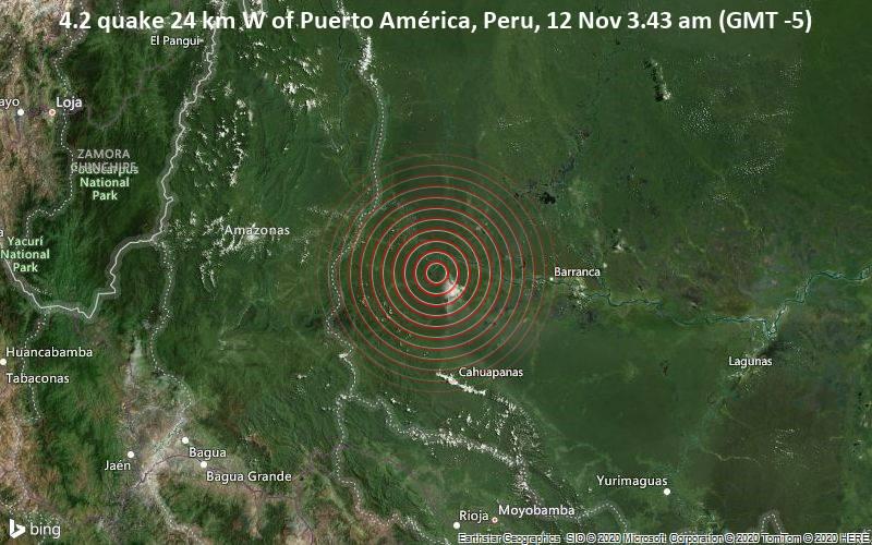 4.2 quake 24 km W of Puerto América, Peru, 12 Nov 3.43 am (GMT -5)