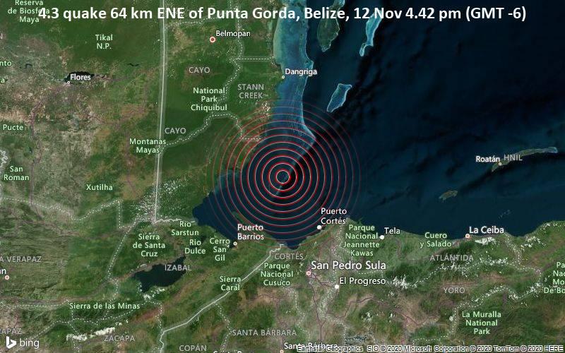 4.3 quake 64 km ENE of Punta Gorda, Belize, 12 Nov 4.42 pm (GMT -6)