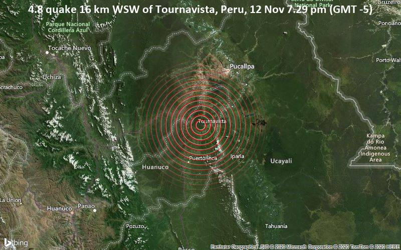 4.8 quake 16 km WSW of Tournavista, Peru, 12 Nov 7.29 pm (GMT -5)