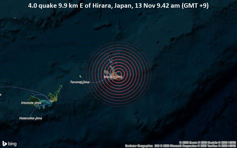 4.0 quake 9.9 km E of Hirara, Japan, 13 Nov 9.42 am (GMT +9)