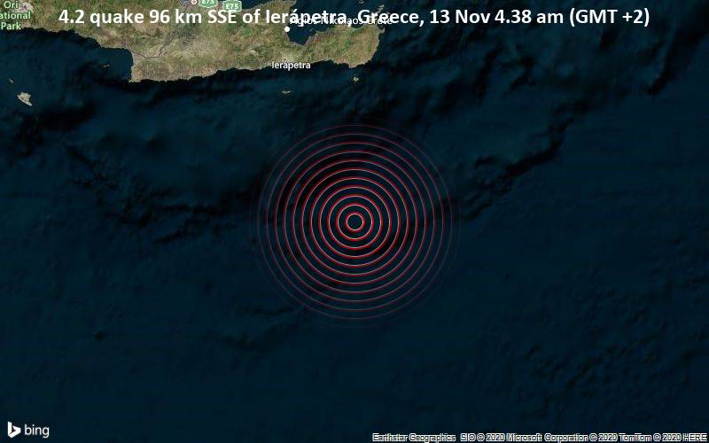 4.2 quake 96 km SSE of Ierápetra, Greece, 13 Nov 4.38 am (GMT +2)