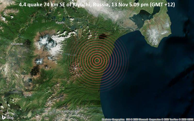 4.4 quake 74 km SE of Klyuchi, Russia, 13 Nov 5.09 pm (GMT +12)