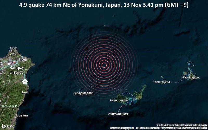 4.9 quake 74 km NE of Yonakuni, Japan, 13 Nov 3.41 pm (GMT +9)