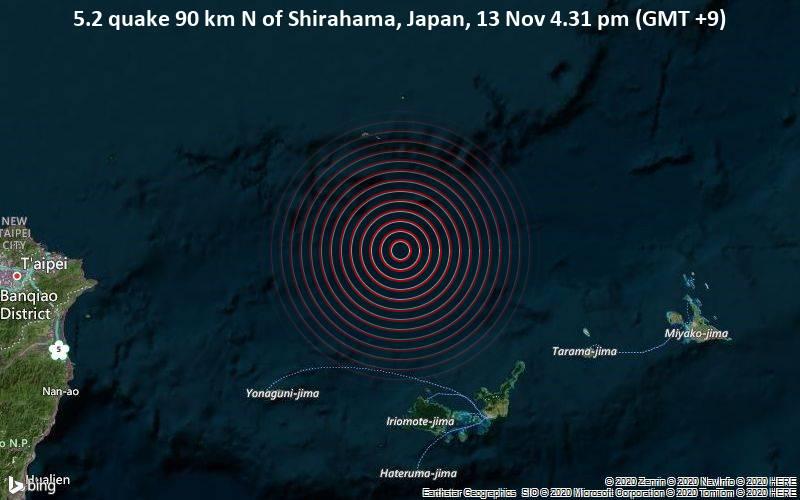 5.2 quake 90 km N of Shirahama, Japan, 13 Nov 4.31 pm (GMT +9)