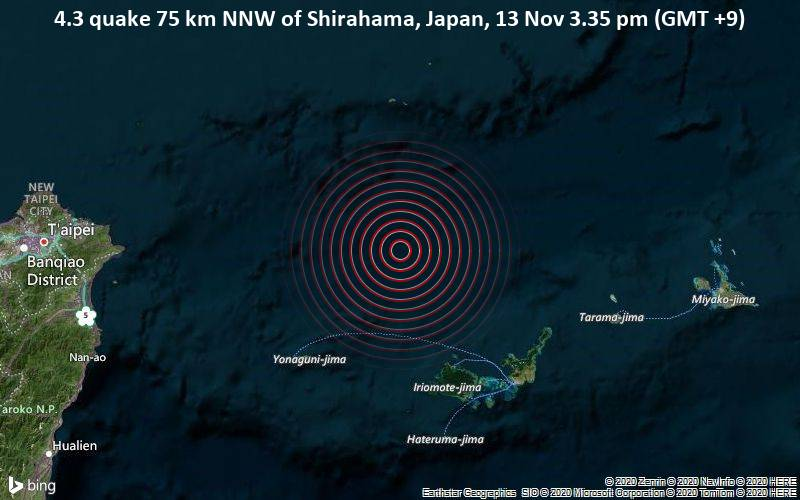 4.3 quake 75 km NNW of Shirahama, Japan, 13 Nov 3.35 pm (GMT +9)