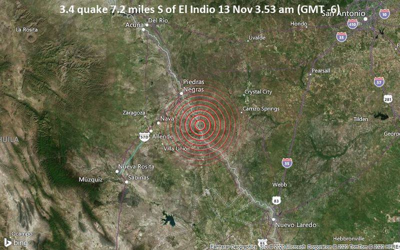 3.4 quake 7.2 miles S of El Indio 13 Nov 3.53 am (GMT -6)