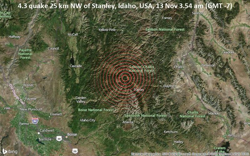4.3 quake 25 km NW of Stanley, Idaho, USA, 13 Nov 3.54 am (GMT -7)